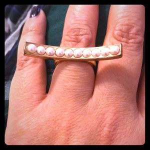 CC SKYE gold & pearl costume cocktail ring